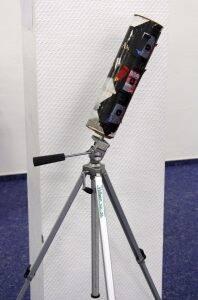 Selbstgebaute Kamera aus einer Flaschenverpackung