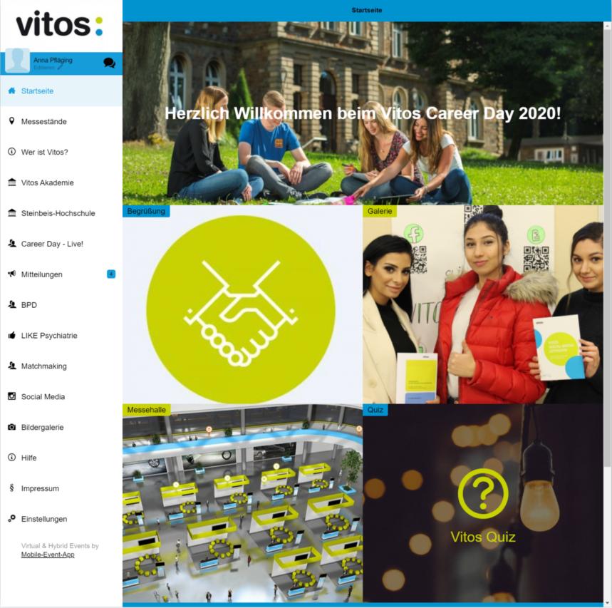 Startseite der Vitos Career Day App