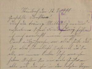 Auszug aus dem Brief von Anne Lorey, mit dem sie auf die Nachricht vom Tod ihres Sohnes Friedrich reagiert.