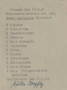 Kleiderverzeichnis von Katharine Lorey.